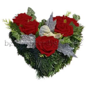 Adventsgesteck mit haltbaren Rosen in Rot für drinnen und draußen