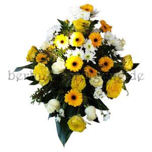 Trauergesteck gelb-weiß mit Germini und edlen Rosen