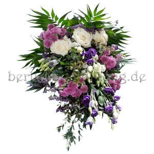 Blumen zur Beerdigung gebunden in Weiß Lila Rosa