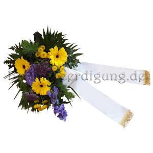 Blumen zur Beerdigung gelb-blau