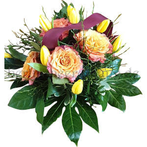Blumenstrauss in Gelb Rosé mit Querband