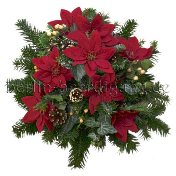 Winterliches Grabgesteck rund mit rotem Weihnachtsstern