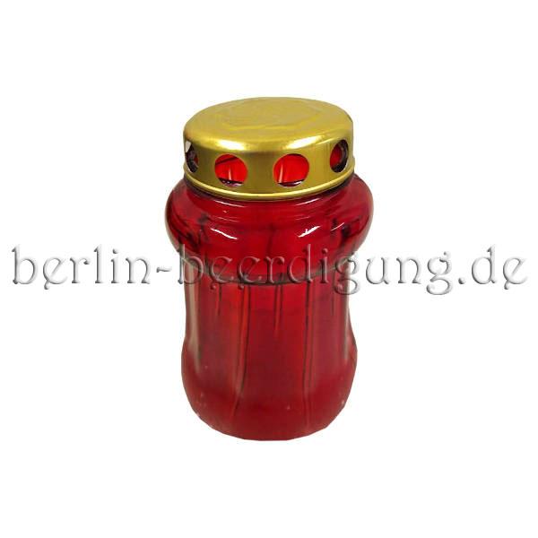 Grabkerze rot aus Glas 14,5cm Ø8,5cm mit Echtwachskerze