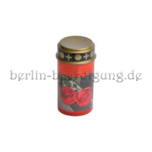 Grablicht rot mit Rosenaufdruck