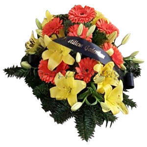 Trauer-Gesteck auch als Grabschmuck Lilien Gerbera