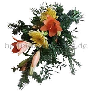 Handstrauß mit Lilien und Chrysanthemen rot-gelb