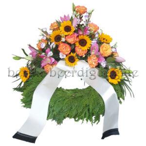 Großer Kranz zur Beerdigung mit Sonnenblumen inkl. Schleife
