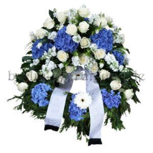 Großer Kranz zur Beerdigung in Weiß Blau 80cm