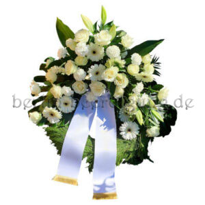 Großer Kranz zur Beerdigung mit weißen Rosen und Gerbera 60cm