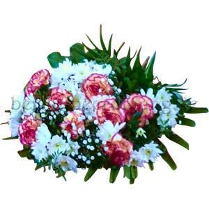 Trauerstrauß in Weiß-Pink mit Nelken und Chrysanthemen für Beerdigungen und Trauerfeiern.