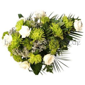 Trauergesteck Grün / Weiß mit Chrysanthemen und Rosen