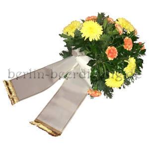 Trauergesteck helle gelbe Chrysanthemen