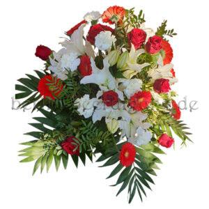 Großes Trauergesteck rot weiß mit Lilien Nelken Rosen Germini