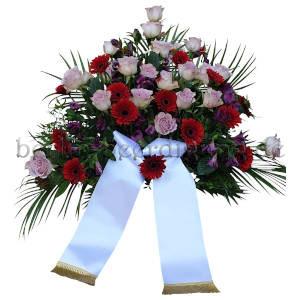 Großzügiges Trauergesteck Rot-Rosa mit Schleife