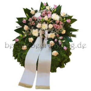Großer Kranz zur Beerdigung mit rosa Aufsatzgesteck 60cm