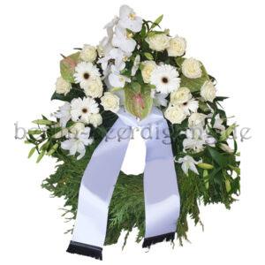 Trauerkranz mit Aufsatzgesteck aus edlen Orchideen und Anthurien