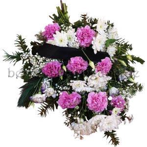 Gebundener Trauerstrauß mit Nelken und Chrysanthemen Pink-Weiß