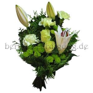 Trauerstrauß gebunden mit Rosen Nelken Lilien Chrysanthemen in Weiß Grün