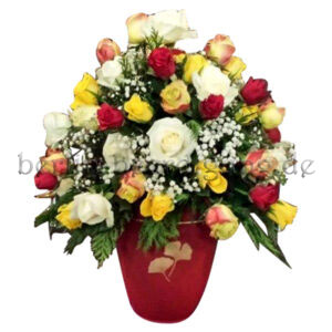Bunte Urnenkrone aus edlen Rosen Weiß Gelb Rot