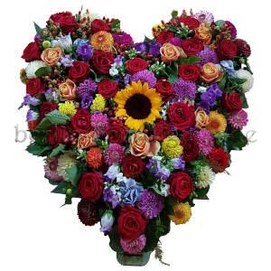 Großes buntes Blumenherz für Bestattung und Grab