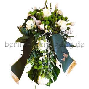 Trauergesteck für Herren Grün-Weiß mit dunkelgrüner Trauerschleife