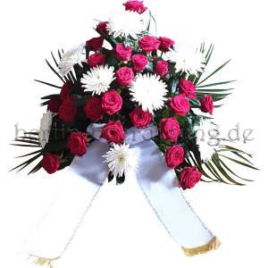 Zur Beerdigung Blumengesteck Rot Weiß