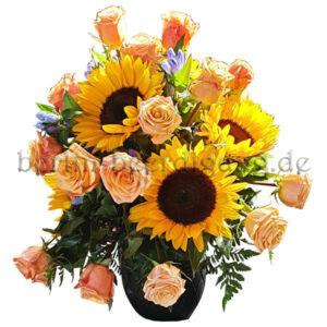 sonnige Urnenkrone Sonnenblumen Rosen
