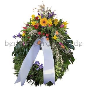 Großer Trauerkranz zur Beerdigung mit Aufsatzgesteck aus Frühlingsblumen 80cm